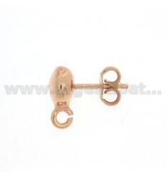 Ein Kugelgelenk.Ohrringe 6 mm zerkleinert und Angriff Trikot Silber Kupfer 925