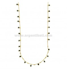 LACE CABLE WITH STONES BLUE PENDANTS IN SILVER GOLDEN TIT 925 CM 80