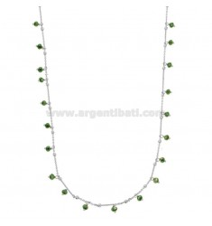 LACE CABLE WITH GREEN STONES PENDANTS IN SILVER RHODIUM TIT 925 CM 80