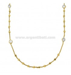 LACE CABLE WITH BALLS AND ZIRCONES ALTERNATE IN GOLDEN SILVER TIT 925 ‰ CM 85