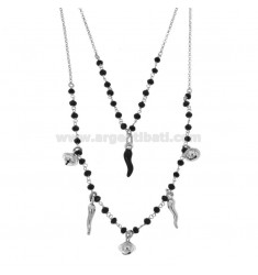 ROLO '2 WIRE NECKLACE DEGRADE WITH FACETED BLACK STONES, HORNS AND BELLS PENDANTS IN SILVER RHODIUM TIT 925 ‰ CM 40-50