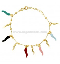 BRACELET ROLO 'WITH HORNS PENDANTS IN SILVER GOLDEN TIT 925 AND ENAMEL CM 17-20