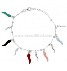 ROLO BRACELET 'WITH HORNS PENDANTS IN SILVER RHODIUM TIT 925 AND ENAMEL CM 17-20