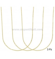 CHAIN 3 PCS MICRO ROLO 'DIAMOND MM 1.7 SILVER GOLDEN TIT 925 ‰ CM 45