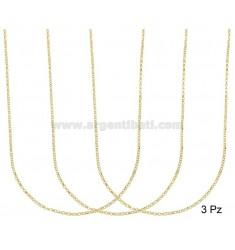 CHAIN 3 PCS MICRO ROLO DIAMOND MM 1.7 SILVER GOLDEN TIT 925 ‰ CM 50