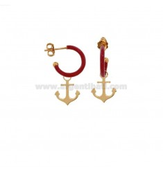 EARRINGS IN CIRCLE DIAM 12 WITH ANCHOR PENDANT IN SILVER ROSE TIT 925 AND ENAMEL