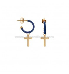 EARRINGS IN CIRCLE DIAM 12 WITH CROSS PENDANT SILVER ROSE TIT 925 AND ENAMEL