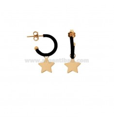 EARRINGS IN CIRCLE DIAM 12 WITH STAR PENDANT IN SILVER ROSE TIT 925 AND ENAMEL