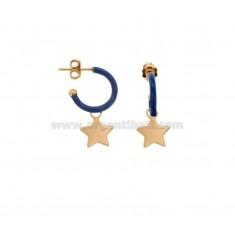 OHRRINGE IN CIRCLE DIAM 12 mit STAR-ANHÄNGER IN SILBER ROSE TIT 925 UND EMAILLE