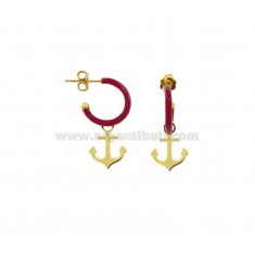 EARRINGS IN CIRCLE DIAM 12 WITH ANCHOR PENDANT IN SILVER GOLDEN TIT 925 AND ENAMEL
