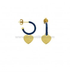 EARRINGS IN CIRCLE DIAM 12 WITH HEART PENDANT IN SILVER GOLDEN TIT 925 AND ENAMEL