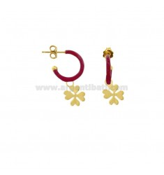 EARRINGS IN CIRCLE DIAM 12 WITH QUADRIFOGLIO PENDENTE IN SILVER GOLDEN TIT 925 AND ENAMEL