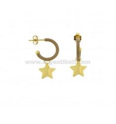 OHRRINGE IN CIRCLE DIAM 12 mit STAR-ANHÄNGER IN SILBER GOLDEN TIT 925 UND EMAILLE