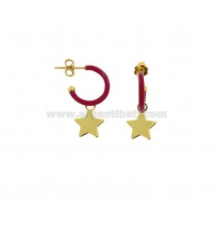 EARRINGS IN CIRCLE DIAM 12 WITH STAR PENDANT IN SILVER GOLDEN TIT 925 AND ENAMEL