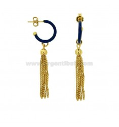 EARRINGS IN CIRCLE DIAM 12 WITH SILVER PENDANT IN SILVER GOLDEN TIT 925 AND ENAMEL