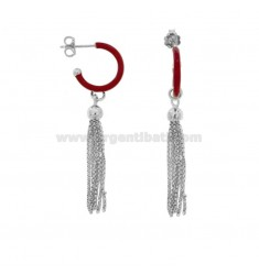 EARRINGS IN CIRCLE DIAM 12 WITH SILVER PENDANT IN SILVER RHODIUM TIT 925 AND ENAMEL