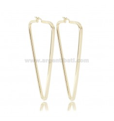 TRIANGULAR HOOP EARRINGS MM 55X32 SQUARE BARREL 2X2 IN SILVER GOLDEN TIT 925