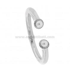 8 MM ROUND BARREL BRACELET IN SILVER RHODIUM TIT 925 WITH FINALS WITH PEARLS AND ZIRCONIA