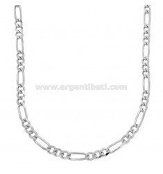 CATENA 3+1 SLIM MM 4,4 CM 50 IN ARGENTO RODIATO TIT 925‰