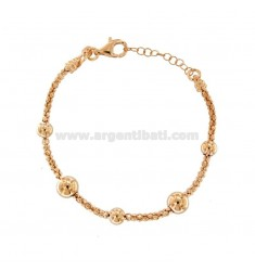 BRACELET POP CORN WITH BALLS IN SILVER ROSE TIT 925 ‰ CM FROM 18 EXTENSIBLE TO 20