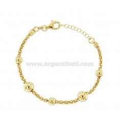 BRACELET POP CORN WITH BALLS IN SILVER GOLD TIT 925 ‰ CM FROM 18 EXTENSIBLE TO 20
