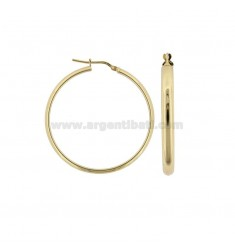 HOOP EARRINGS 35 MM HALF ROUND BARREL 4 MM SILVER GOLDEN TIT 925 ‰