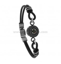 BLACK CAUCCIU 'BRACELET WITH CENTRAL RUTENIO PLATED STEEL COMPASS