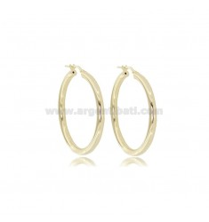 HOOP EARRINGS 37 MM ROUND BARREL 3 MM SILVER GOLDEN TIT 925 ‰