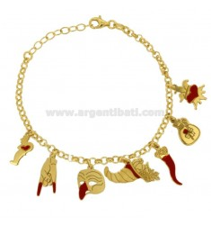BRACELET ROLO 'WITH SCARAMANTIC PENDANTS IN SILVER GOLDEN TIT 925 AND ENAMEL CM 18-20