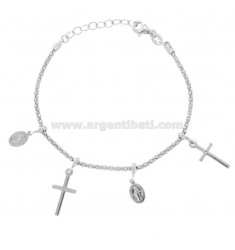 BRACELET POP CORN WITH MADONNINE AND CROSSES PENDANTS IN SILVER RHODIUM TIT 925 CM 18-20