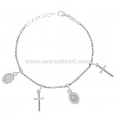 BRACELET POP CORN WITH MADONNINE AND CROSS PENDANTS IN SILVER RHODIUM TIT 925 AND ZIRCONIA CM 18