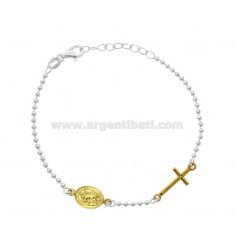 BRACELET TYPE ROSARY WITH SAN CHRISTOPHER IN SILVER RHODIUM AND GOLDEN TIT 925 CM 18-20