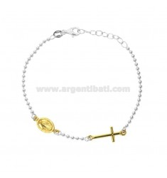 BRACELET TYPE ROSARY WITH MIRACULOUS MADONNA IN SILVER RHODIUM AND GOLDEN TIT 925 CM 18-20