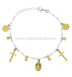 BRACELET CABLE WITH BALLS, CROSSES, ANGELS AND MADONNINA PENDANTS IN SILVER RHODIUM AND GOLDEN TIT 925 CM 18-20