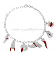 ROLO BRACELET WITH SCARAMANTIC PENDANTS IN SILVER RHODIUM TIT 925 AND ENAMEL CM 18-20
