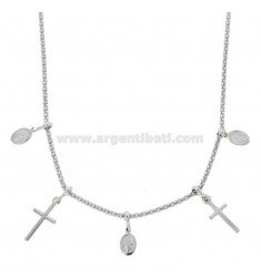 COLLANA POP CORN CON MADONNINE E CROCI PENDENTI IN ARGENTO RODIATO TIT 925 CM 45