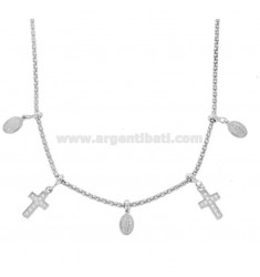 COLLANA POP CORN CON MADONNINE E CROCI PENDENTI IN ARGENTO RODIATO TIT 925 E ZIRCONI CM 45