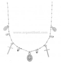NECKLACE CABLE WITH BALLS, CROSS AND MADONNINE PENDANTS IN SILVER RHODIUM TIT 925 AND ZIRCONIA CM 45