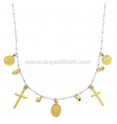 NECKLACE CABLE WITH BALLS, CROSSES, ANGELS AND MADONNINA PENDANTS IN SILVER RHODIUM AND GOLDEN TIT 925 CM 45