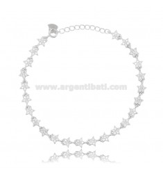 BRACELET WITH STARS IN SILVER RHODIUM-PLATED TIT 925 ‰ AND WHITE ZIRCONIA CM 17-20