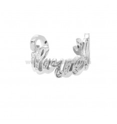 CUSTOM RING WITH LETTERS IN CORSIVE ZIRCONATE SILVER RHODIUM TIT 925
