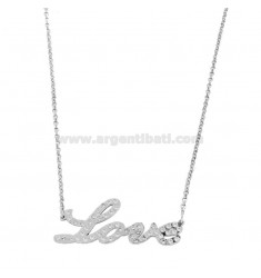 CHAIN ROLO 'WITH PERSONALIZED NAME IN CORSIVE ZIRCONATE IN SILVER RHODIUM TIT 925 CM 45