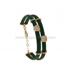 BRACELET IN CAUCCIU 'GREEN PINE WITH SQUARE AND HEART IN SILVER ROSE TIT 925 AND ZIRCONIA