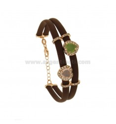 BRACELET IN RUBBER BROWN WITH HYDROTHERAL STONES AND ZIRCONIA SILVER ROSE TIT 925 CM 17-19