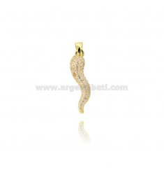 HORN PENDANT 29X8 MM SILVER GOLDEN TIT 925 ‰ AND ZIRCONIA CHAMPAGNE
