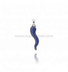 HORN PENDANT MM 29X8 SILVER RHODIUM TIT 925 ‰ AND BLUE ZIRCONS