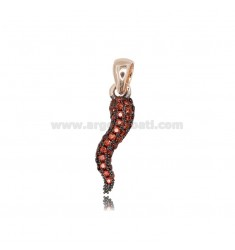 HORN PENDANT 20x5 MM SILVER ROSE TIT 925 ‰ AND RED ZIRCONIA