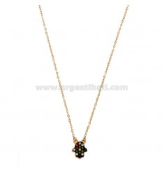 CHAIN CABLE WITH HAND OF FATIMA PENDANT SILVER ROSE TIT 925 ‰ AND ZIRCONI COLORED CM 45-50