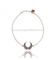 BRACELET FORCATINA WITH LUNA CENTRAL PULLET IN SILVER ROSE TIT 925 ‰ AND PINK ZIRCONIA CM 17-19