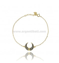 BRACELET FORCATINA WITH LUNA CENTRAL PULLET IN SILVER GOLDEN TIT 925 ‰ AND WHITE ZIRCONIA CM 17-19